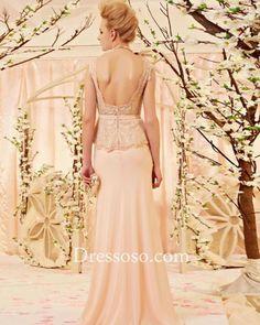 Elegant Apricot Chiffon Lace Long Prom Dress With Low Back CYH30352