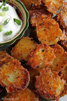 Easy, Crispy, Parmesan Garlic Roasted Baby Potatoes have amazing flavor and texture. They can be prepared quickly for a dinner side, Game Day or party snack, or breakfast and brunch potatoes. TheYummyLife.com