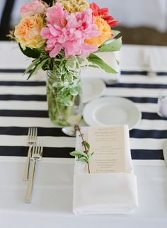 Simple napkin, menu place setting Photography: Summer Street Photography - www.summerstreetphotography.com  Read More: http://www.stylemepretty.com/2014/06/10/rustic-meets-preppy-vineyard-wedding-at-rosedale-farms-by-summer-street-photography/
