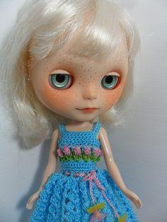Dress crochet  T U L I P S  for Blythe Doll