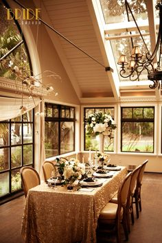 The Tea Room at the Teahouse restaurant in Vancouver, BC, all done up for a vintage-inspired wedding