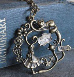 Alice In Wonderland ketting bronzen sieraden Steampunk door Bronzess