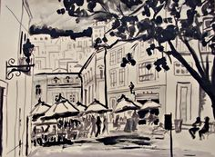 """Black and white original art watercolor of Guanajuato Mexican town and people cafe plaza umbrelas buysy street 19"""" x 25"""" modern home decor"""