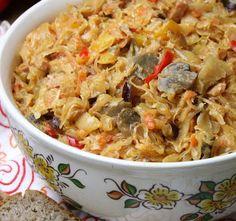 Kapusta cygańska (kapusta kiszona z papryką, pieczarkami, śmietaną i pomidorami) Macaroni And Cheese, Cabbage, Food And Drink, Dishes, Chicken, Cooking, Ethnic Recipes, Band, Gourmet