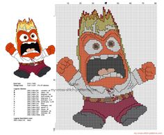 Anger Disney Inside Out character free cross stitch pattern