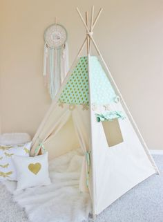 MINT with Gold Glamour Polka Dot, Canvas, Play House, Teepee, Play Tent, Nursery, Teepee Tent, Kids Teepee, Indoor