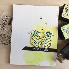 "76 Likes, 15 Comments - Thi Lam (@lemonteacrafts) on Instagram: ""Playing around with the new #lawnfawn #aloha stamp set. Nothing sweeter than a couple of pineapples…"""