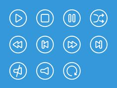 SVG outline icons for audio and video player. Available for free download at https://www.iconfinder.com/danieledesantis #graphicdesign #icon #icons #vector #vectors #ui #audio #video #player #svg #freebies #free
