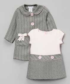 Another great find on #zulily! Pink & Gray Bow Peacoat & Dress - Infant, Toddler & Girls by Gerson & Gerson #zulilyfinds