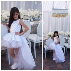 2016 Princess Pageant Dresses For Girls Jewel Sleeveless Hi-Lo A-Line White Pageant Gowns Kids With Pleats And Tiers First Communion Dresses Online with $69.11/Piece on Cc_bridal's Store | DHgate.com