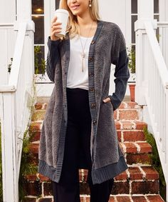 Suzanne Betro Dark Gray Contrast Ribbed-Sleeve Duster - Women & Plus | Best Price and Reviews | Zulily Sweater Cardigan, Duster Coat, Contrast, Gray, High Point, Sleeves, Sweaters, How To Wear, Amp