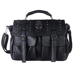 Qflmy Women Motorcycle Hobo Handbag Punk Style Pu Leather Skull... ($40) ❤ liked on Polyvore featuring bags, handbags, shoulder bags, tote handbags, hobo handbags, man tote bag, hobo shoulder handbags and hobo tote
