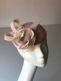 Your place to buy and sell all things handmade Wedding Guest Fascinators, Wedding Hats For Guests, Pink Fascinator, Headpiece, Sinamay Hats, Pink Hat, Silk Roses, Race Day, Etsy Jewelry