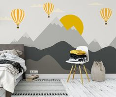 Gray mountains wallpaper removable wallpaper monogrammed mountain nusery decor wall paper yellow sun with balloon clouds kids bedroom mural - Babyzimmer Bedroom Murals, Bedroom Wall, Kids Bedroom, Wall Murals, Baby Room Design, Baby Room Decor, Kids Room Wallpaper, Wall Wallpaper, Fabric Wallpaper