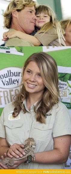 Steve Irwin's daughter. Wow....she's beautiful.