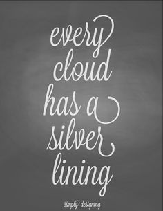 Every Cloud Has a Silver Lining | free printable | #chalkboard #printable #free | at Simply Designing