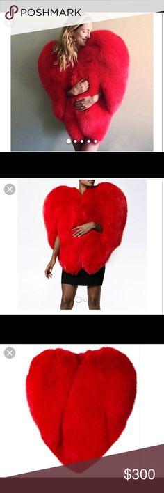 Red Fur Heart Cape Fur Cape Jackets & Coats