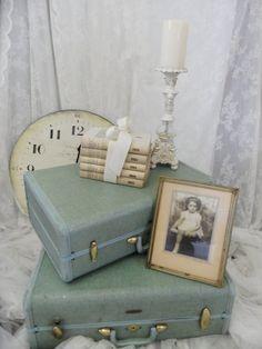 Shabby Chic Pastel Green Vintage Samsonite Luggage Set Cottage Decor via Etsy