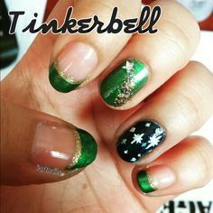 Tinkerbell Nails - Disney's Peter Pan Nail Art #nails #nailart #disney…
