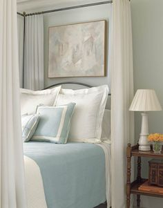 front guest bedroom wall color - Sherwin Williams blue hubbard (used to be Martha Stewart) Peaceful Bedroom, Cozy Bedroom, White Bedroom, Bedroom Decor, White Canopy, Sage Bedroom, Bedroom Colors, Bedroom Ideas, Bedroom Bed