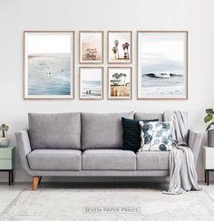 Ocean Wall Art Set of Coastal Surf Prints. Surf Decor, Decoration Surf, Diy Wall Decorations, Coastal Wall Art, Beach Wall Art, Coastal Decor, Plage Art Mural, California Palm Trees, California Decor
