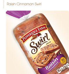 Pepperidge Farm Wheat Raisin Cinnamon Swirl Bread