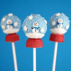 Snow Globe Pops  #bakerella #cakepop #dessert it's a snow clone pip with a Reeves cup on bottom