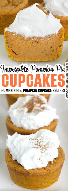 These irresistible pumpkin pie cupcakes are a great alternative to a complicated pumpkin pie. #pumpkin #pie #cupcakes Pumpkin Pie Cupcakes, Pumpkin Pie Cheesecake, Pumpkin Pie Recipes, Pumpkin Dessert, Pumpkin Pie Muffins, Homemade Pumpkin Pie, Pumpkin Pies, Crust Less Pumpkin Pie, Pumpkin Pie Fillings
