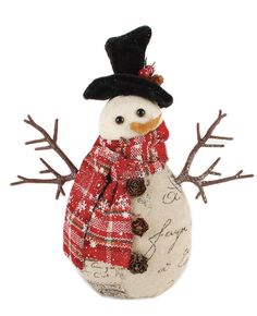 Small Standing Snowman with Plaid Scarf Figurine