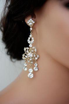 Large Gold Chandelier Earrings with Vintage Rhinestone Flower, Wedding Jewelry.  Harlow Deluxe. $98.00, via Etsy.