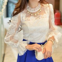 TRANSPARENT LACE SLEEVE BLOUSE I WHITE | The Fancy