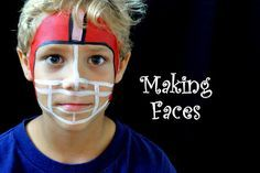 Making Faces - Face painting, cute football design Aunt Michele can do this! Face Painting For Boys, Face Painting Designs, Painting Patterns, Body Painting, Paint Designs, Football Face Paint, Football Stuff, Football Homecoming, Homecoming Week