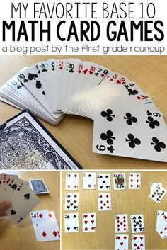Primary Math Card Games In first grade, my favorite math games are the easiest ones! And they all use only one material.a pack of play cards! Today, let's talk about two of my favorite math card games for building base 10 understanding. Easy Math Games, Math Card Games, Card Games For Kids, Math For Kids, Mental Maths Games, Maths Games Ks1, Division Math Games, Mathematics Games, Abc Games