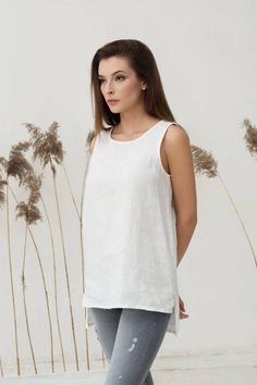 Off white pure linen top. Women's tees. Clothing. Blouses. Tunic. Soft. Oversized loose fit linen by MagicLinen