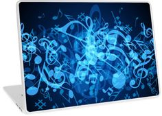 Blue Glow Music Notes | Design available for PC Laptop, MacBook Air, MacBook Pro, & MacBook Retina.