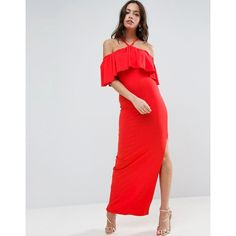 ASOS Ruffle Bandeau With Neck Strap Maxi Dress (€34) via Polyvore featuring red e asos