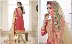 This party wear straight cut suit has beige color floral embroidery patch on the neck line highlight the over all. The copper colored zari in border. The peach colored top is fabricated in cambric cotton, while the bottom is made of cotton fabric. The net fabric dupatta. Get this charming suit now.