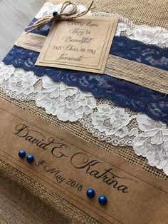 Rustic navy blue guest books