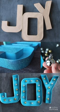 Glitter Marquee Letters {the EASY way!} - My Sister's Suitcase - Packed with Creativity - Glitter Marquee Letters {the EASY way!} – My Sister's Suitcase – Packed with Creativity DIY Marquee letters, made with mini ornaments instead of lights! Winter Christmas, All Things Christmas, Christmas Lights, Christmas Ornaments, Holiday Crafts, Holiday Fun, Holiday Decorations, Diy Marquee Letters, Marquee Lights