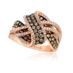 Le Vian Chocolatier® Gladiator® Wraps™ ring (ZUFX 72) with Chocolate Diamonds® and Vanilla Diamonds® in Strawberry Gold®. #ShopIDC
