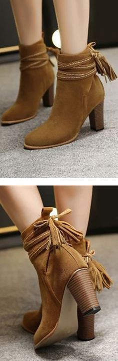 Tassel Suede Ankle Boots ❤︎
