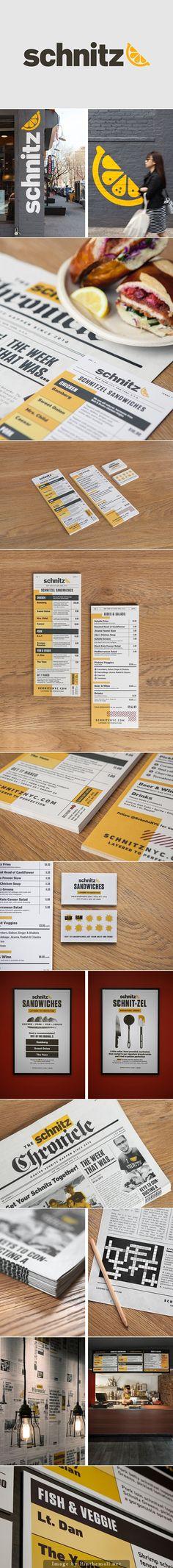 **Diseño inspirado en un periódico** | Schnitz Branding By Tag Collective | #menu #branding #print #design