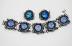 SCHIAPARELLI   1950's  Blue Tourmaline Watermelon Bracelet & Earring Set
