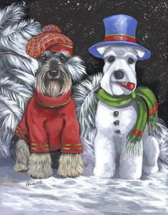 Schnauzer Snowdog by Suzanne Reanud