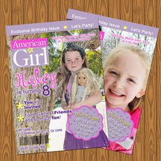 American Girl Doll Magazine Style Birthday Party Invitations. $13.99, via Etsy.