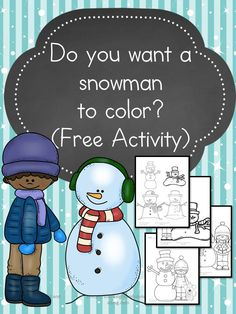 Preschool or Kindergarten Coloring Pages:  Snowman to Color -It's snowman time! We have all you need to build a snowman, and a snowman to color too!