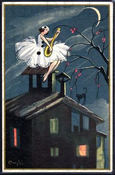 Lovely Art Deco postcard illustration from the 1920s. This image and the other in this series are softer in style, not as crisply realistic.