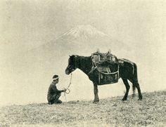 Man and horse. Meiji period. Japan. 馬(明治36年)▷乙女峠の馬 | ジャパンアーカイブズ - Japan Archives