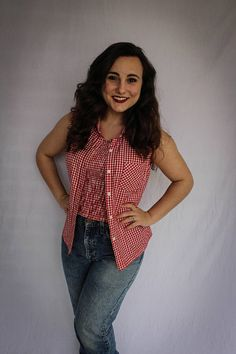 83d6bd31f8 Vintage Red/White Gingham Button Up   Stretchy Crop Top   Halloween Costume    Cowgirl   90s   Sexy Cowgirl   Country