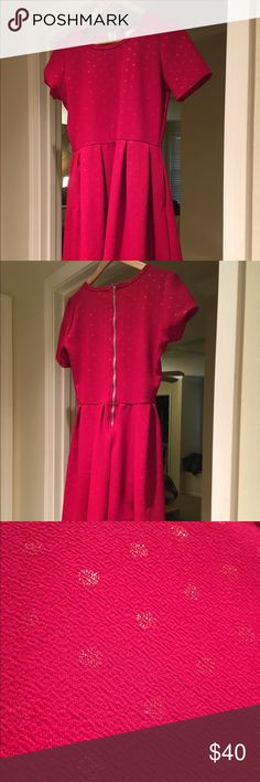 Elegant Amelia LuLaRoe dress Lovely brand new without tags.  Never worn!  Deep red with gold dots. LuLaRoe Dresses Midi
